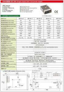 Nguồn tổ ong 24V/2.1A/50W - Mean Well - Đài Loan